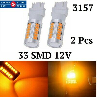 2x Yellow 3157  BAY15D Car Tail Stop Brake Light 5630 33 SMD LED Bulbs 12V Amber
