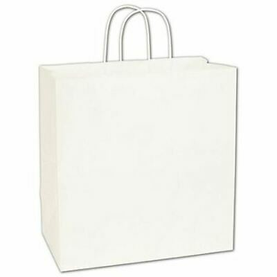 250 White Kraft Gift Merchandise Paper Bags Shoppers Escort 13 x 7 x 13""
