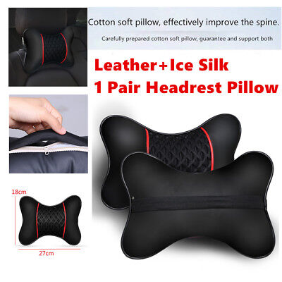 Pair of PU leather Knitted Car Pillows Headrest Neck Cushion Support Seat Tools