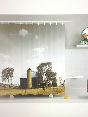 Ambesonne Farm House Decor Collection, Old Wooden Barn with Silo