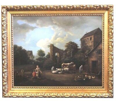 19th century Amazing Antique  Oil Painting Farm Scene