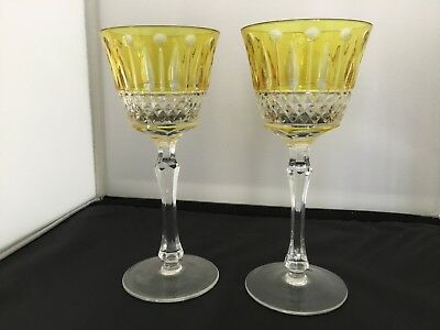 """2 Signed Faberge Xenia 7 3/8"""" Yellow Wine Crystal Goblet/Glass No Original Box"""