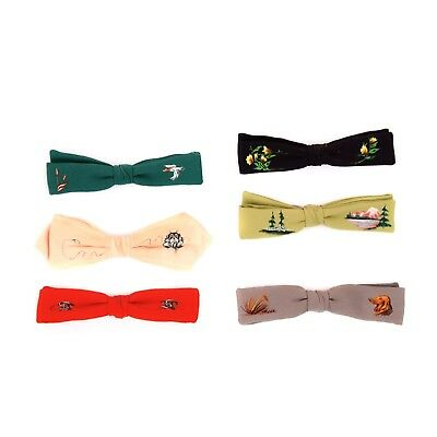 Vintage 40s 50s Hand Painted Rayon Crepe Novelty Rockabilly Clip On Slim Bowtie