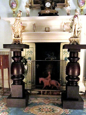 Old Antique Heavy Mahogany Wood Pedastals Busts Ornaments Stands Made c1895