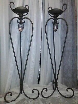 Pair Of Vintage Architectural Garden Wrought/cast Iron Hand-Forged Candle Stands