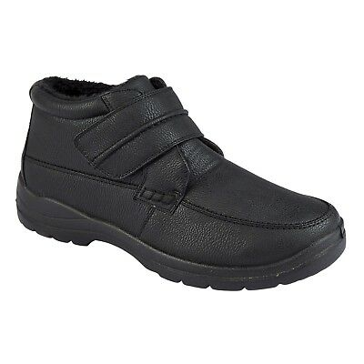 Mens Winter Warm Fleece Fur Lined Touch Strap Trainers Boots Size 7 8 9 10 11 12