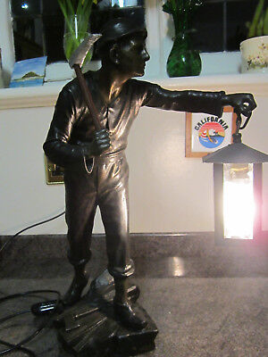 Old Antique Spelter Miner Figure with Axe Hammer Electric Lamp Light c1915