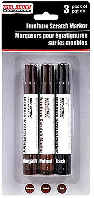 3 Dark Colors Mahogany Walnut Black Touch-Up Furniture Markers For Scratches