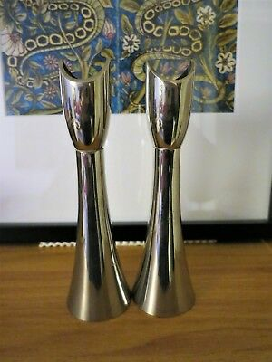 A pair of mid century modernist silver plated candlesticks C1960s/70s