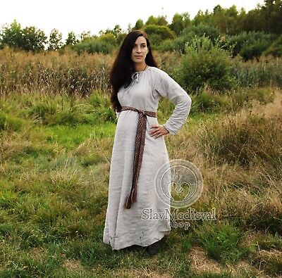 Pskov dress Early Medieval Viking linen gown, kirtle  100% Flax