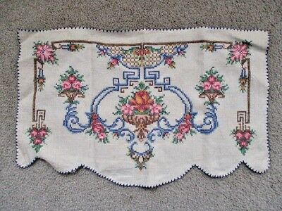 Vintage Embroidered Roses Doily