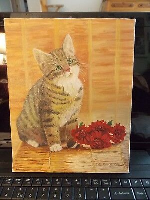 SWEET Striped Kitty Cat Oil Painting Signed