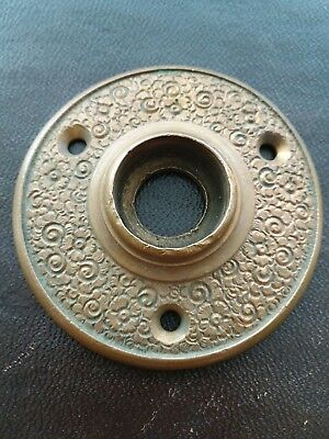 Antique Victorian Brass Bronze Door Knob Rosette Plate Russell Erwin Damascene