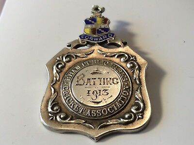 Antique Solid Silver FOB / Pendant / Medal - 1913.