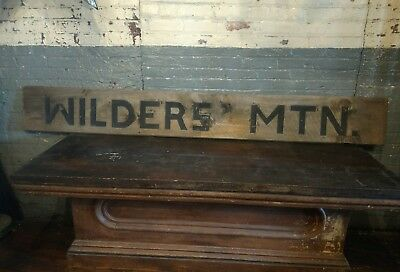 1940s Wilder's Mountain Wooden Sign Carved Primitive Farmhouse Virginia Country