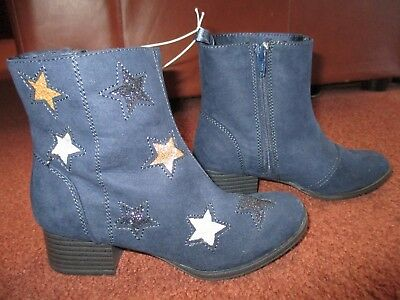 890204d76288 GIRL OLD NAVY Faux-Suede Glitter-Star Block-Heel Boots Navy Blue NEW ...