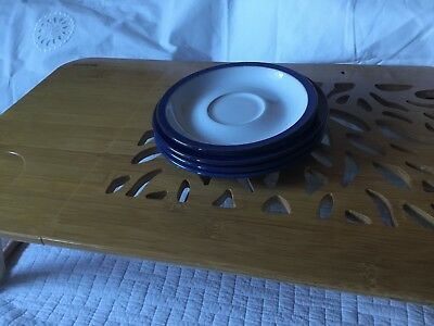 Denby Imperial Blue Saucers 3 Large And 1 Small New