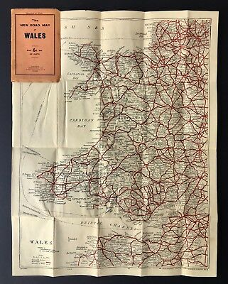 Vintage 'New Road Map of Wales' fantastic, on cloth, bright colours Geographia