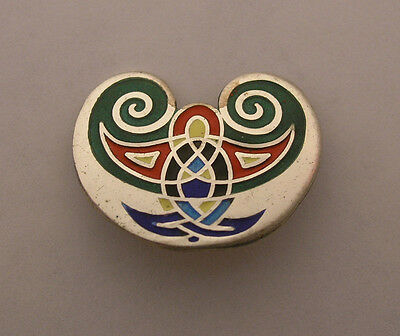 Tara Ware Dublin Sterling Silver Enameled Celtic Design BROOCH - Irish Hallmarks