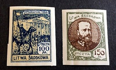 Central Lithuania - 2 top unused stamps 1921 - Srodkowa Litwa