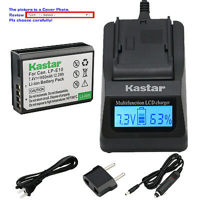 Kastar Battery LCD Fast Charger for Canon LP-E10 LCE10 Canon EOS Rebel T3 Camera