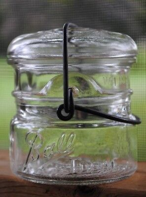 Vintage 1933~1941 BALL IDEAL 1/3 THIRD~PINT Fruit Canning Jar w/ Wire Bail & Lid