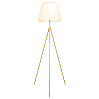 "CO-Z 63"" Wood Tripod Floor Lamp, Modern Standing with Foldable White Fabric Shad"