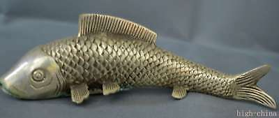 Collection Handwork Old Miao Silver Carve Goldfish Swimm Lucky Home Decor Statue
