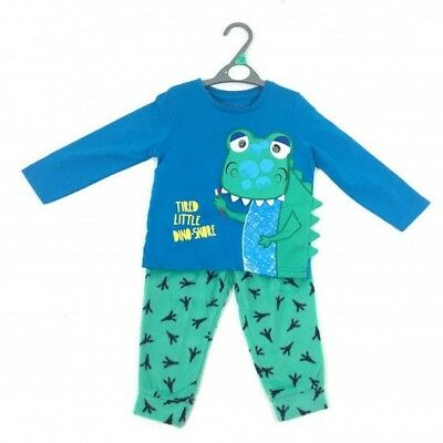 Ex Store Baby Boys Tired Little Dinosaur Blue Pyjamas Sleepwear 12 18 24 Months