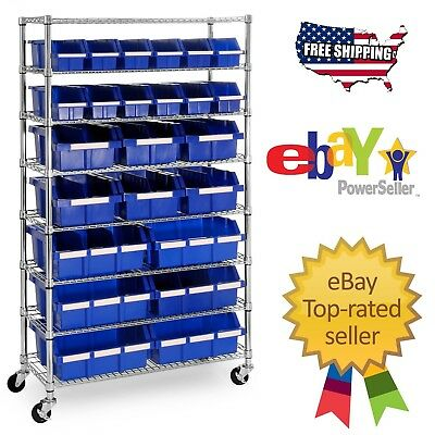 New Multipurpose 24-Bin Rolling Rack Garage Metal Storage Units Shelving Wheels
