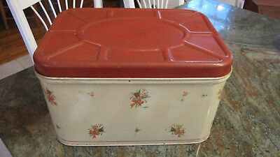 National Can Co Metal Bread Box, Vintage ,Rare.Cream with Red Flowers and Lid.