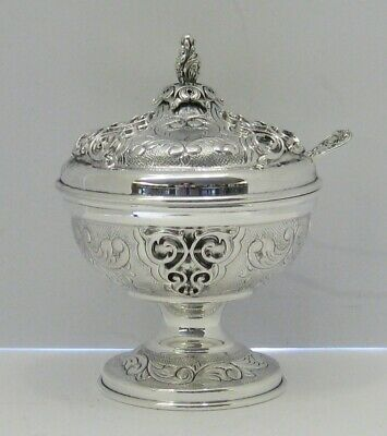 925 Sterling Silver & Gilded & Glass Chased Ornate Appliques Honey Dish & Spoon