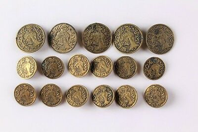 "Set Of 17 Antique Japanese Gilt Brass ""geisha With Fan"" Picture Buttons Nr"
