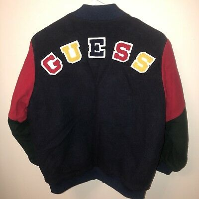 Vintage GUESS Letterman Jacket 90's Wool GEORGES MARCIANO Varsity
