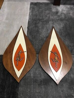 """Vintage Set Brass Ballerina Wood Wall Hanging MCM Mid Century Lucite Formica 24"""""""