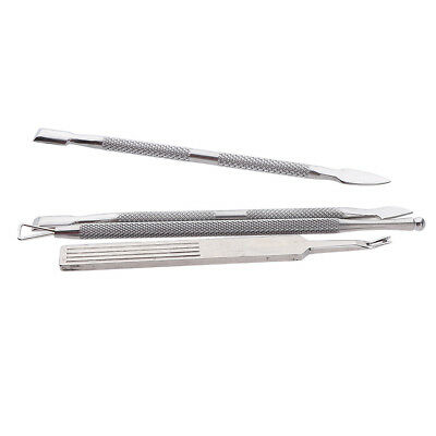 4x Stainless Steel Nail Art Cuticle Pusher Spoon Fork Remover Manicure Tool