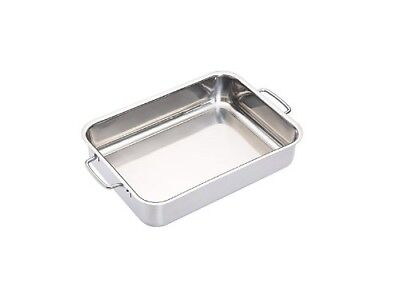 KitchenCraft MasterClass Low Roasting Pan, Stainless Steel, Silver, 32 x 23 x 6.