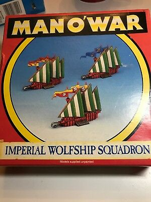 Man O' War Imperial Wolfship Squadron metal OOP Part-painted