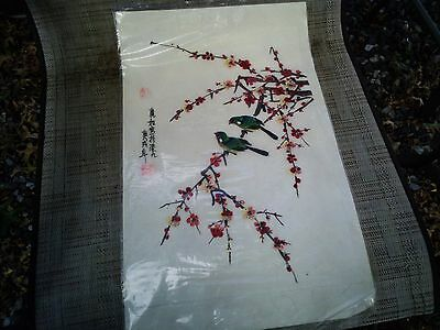 Vintage Chinese or Japanese Painting Water Colors Flowers Finches Birds !8 X 10