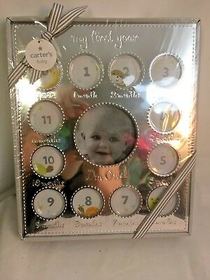 """NEW Carter's Smileyhappy Baby Picture Frame """"My First Year"""" Silver Silvertone"""