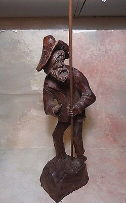 Antique hand carved wood old man 15'' TALL