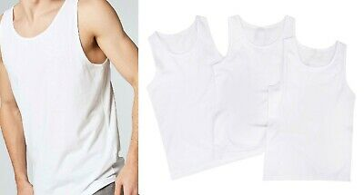Boys Vests Top 1,3,6 Pack White Cotton School Wear Home Summer Tank 2-18 Years