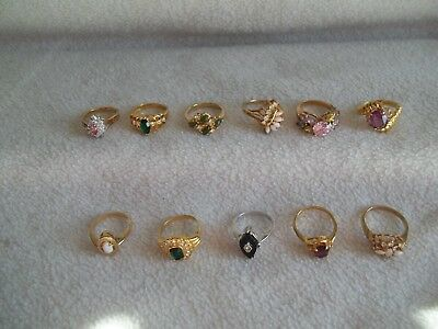 Vintage Costume Jewelry Ring Lot Of 11
