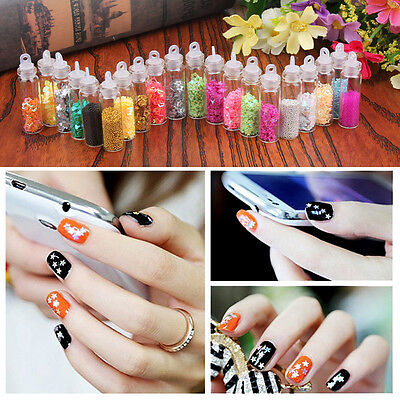 20 Colors Glitter Caviar mini Micro Beads tips 3D Nail Art Acrylic UV Gel Set
