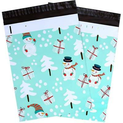 Teal Winter Christmas Snowman Designer Poly Mailers Shipping Bags,10x13