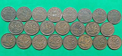 Lot of 23 Different Old Canada Small Cent Coins 1920-1952 KGV & KGVI  !!