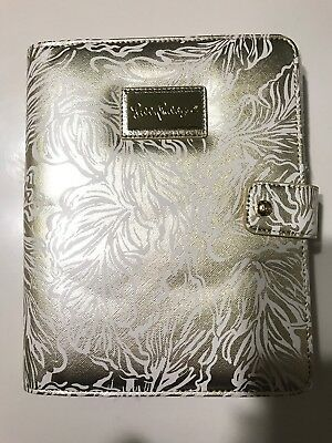 New Lilly Pulitzer Agenda Folio Gold Leaf Leatherette Book Cover With Pen Loop