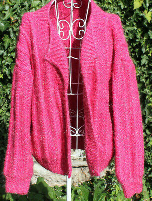 Vintage pink sparkly cardigan, heavy warm wool furry winter boho 80s size M/L