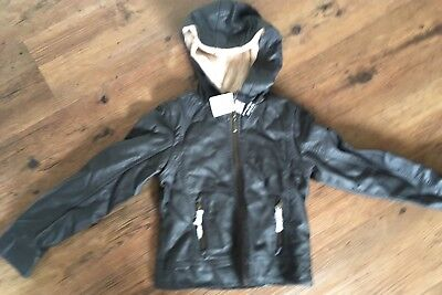 Brand New Girls Size 8 Pumpkin Patch Mock Leather Hooded Jacket