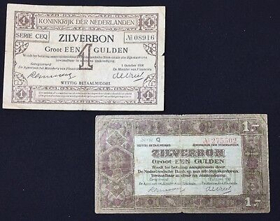 Lot/2 1918/1920 Netherlands 1 Gulden Zilverbon Pick#13/15